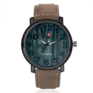 2017 Fashion Wrist Watch Sale Items Luxury Brand SOXY Male Quartz Watch Big Face Boys Leather Designer Wooden Watches Men