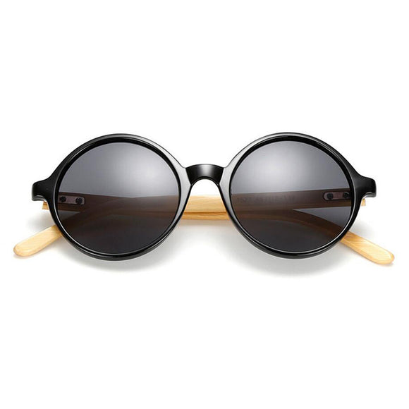 Unique Bamboo Designer Mirror Round Sunglasses