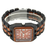 Wooden Rectangle Auto Date Wristwatch from BEWELL