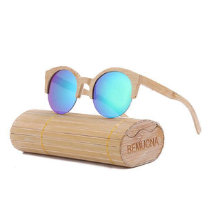 Bamboo Cat Eye Semi-Rimless Sunglasses with free display box