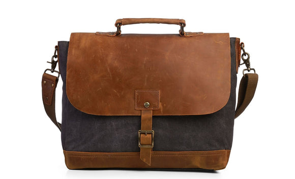 Canvas Briefcase Business Shoulder Bag with Padded Compartment for 15.6
