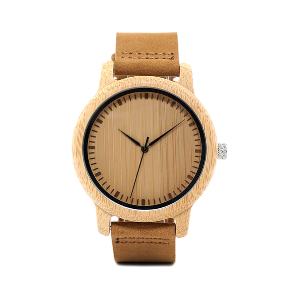 Antique Bamboo Wooden Watch With Leather Strap