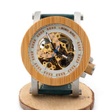 Vintage Bronze Steel & Wood Mechanical Watch