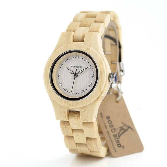 Ladies Handmade Bamboo Watches Available in White Red & Green