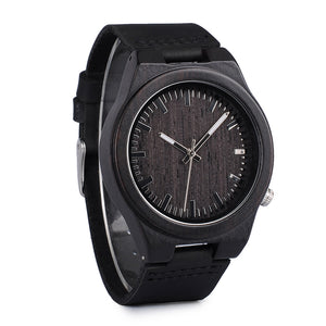 Eco-friendly Real Bamboo Watch with Genuine Soft Leather Strap