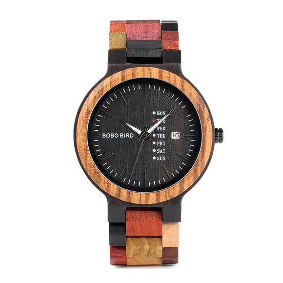 Antique Mens Watch Date and Week Display Unique Mixed Color Wooden Band