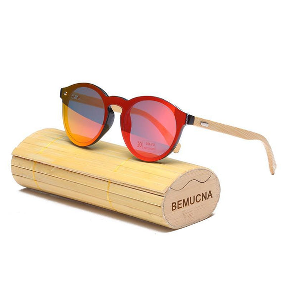 Round Top bamboo sunglasses with free display case