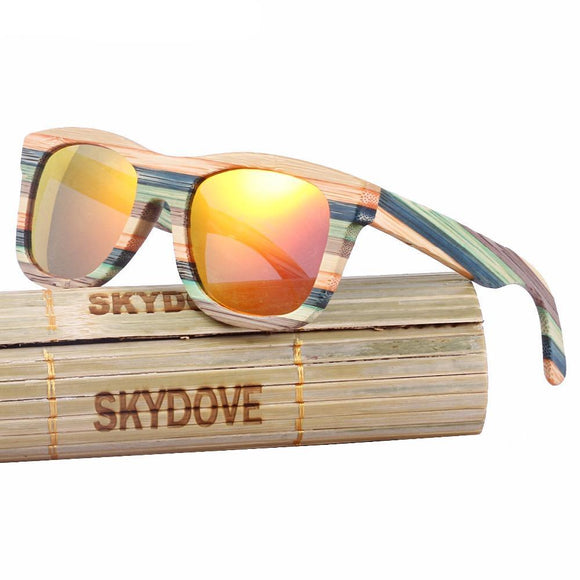 Vintage Polarized Bamboo Sunglasses with free display box