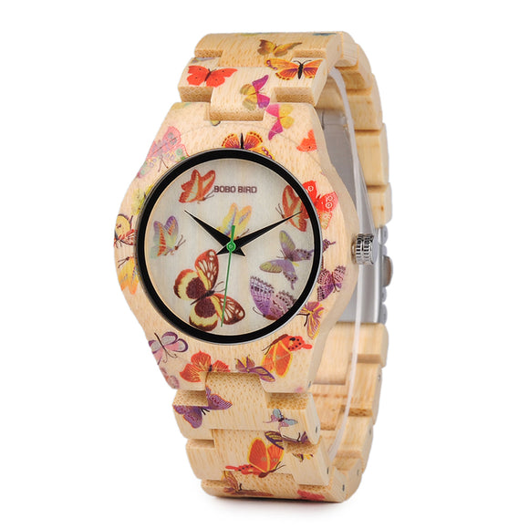 Handmade Bamboo Watch Painted with Butterflies from BOBO BIRD