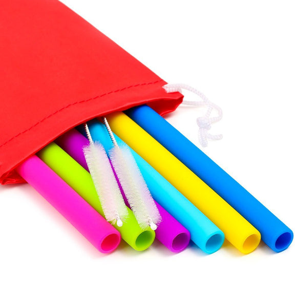 6 Silicone Straws & Brush Set