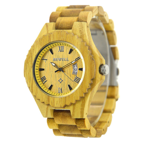 2018 New Arrival Luxury Quartz Wooden Wristwatch from BEWELL