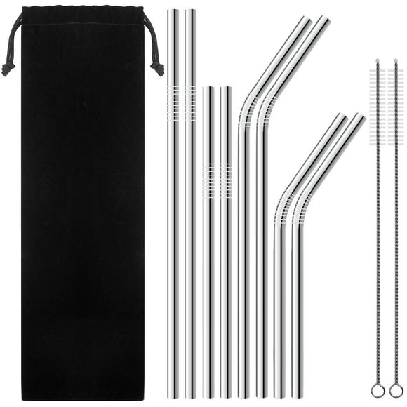 Stainless Steel Drinking Straws, Set of 8, Free Cleaning Brush Included