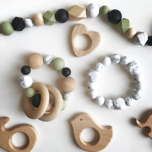 Natural Wood Teething Rattle
