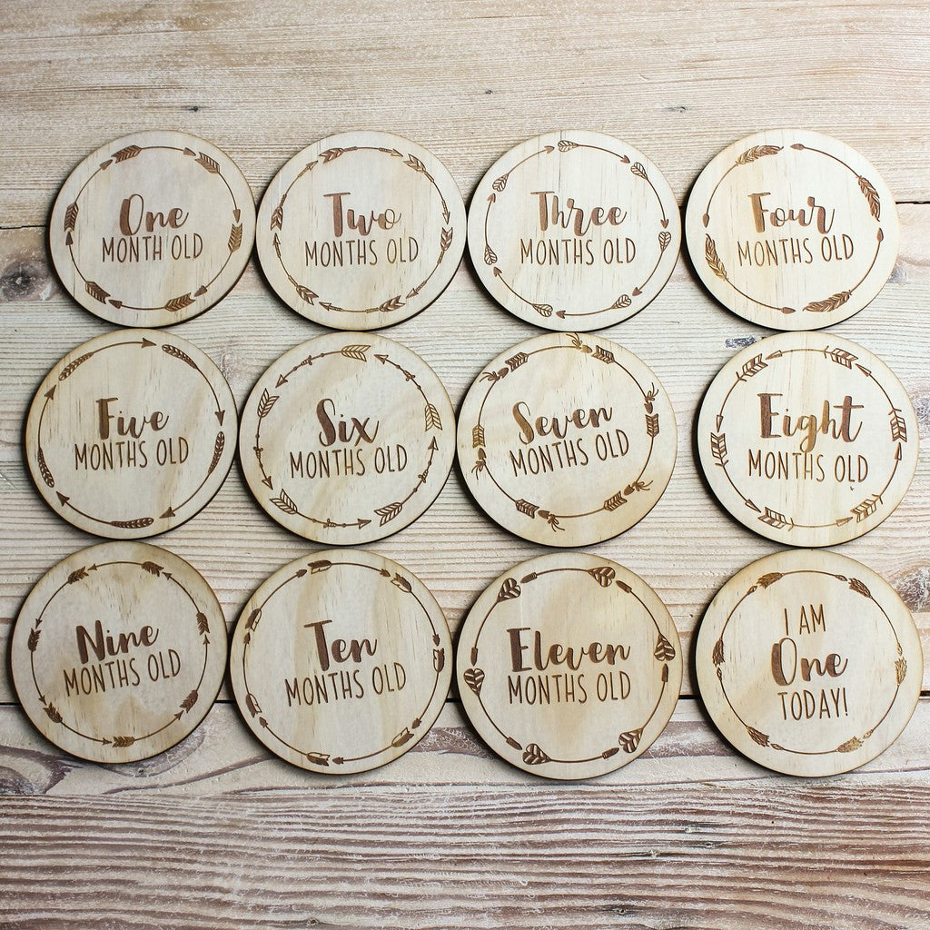 Arrow Wreath Monthly Milestone Plaques - Set of 12