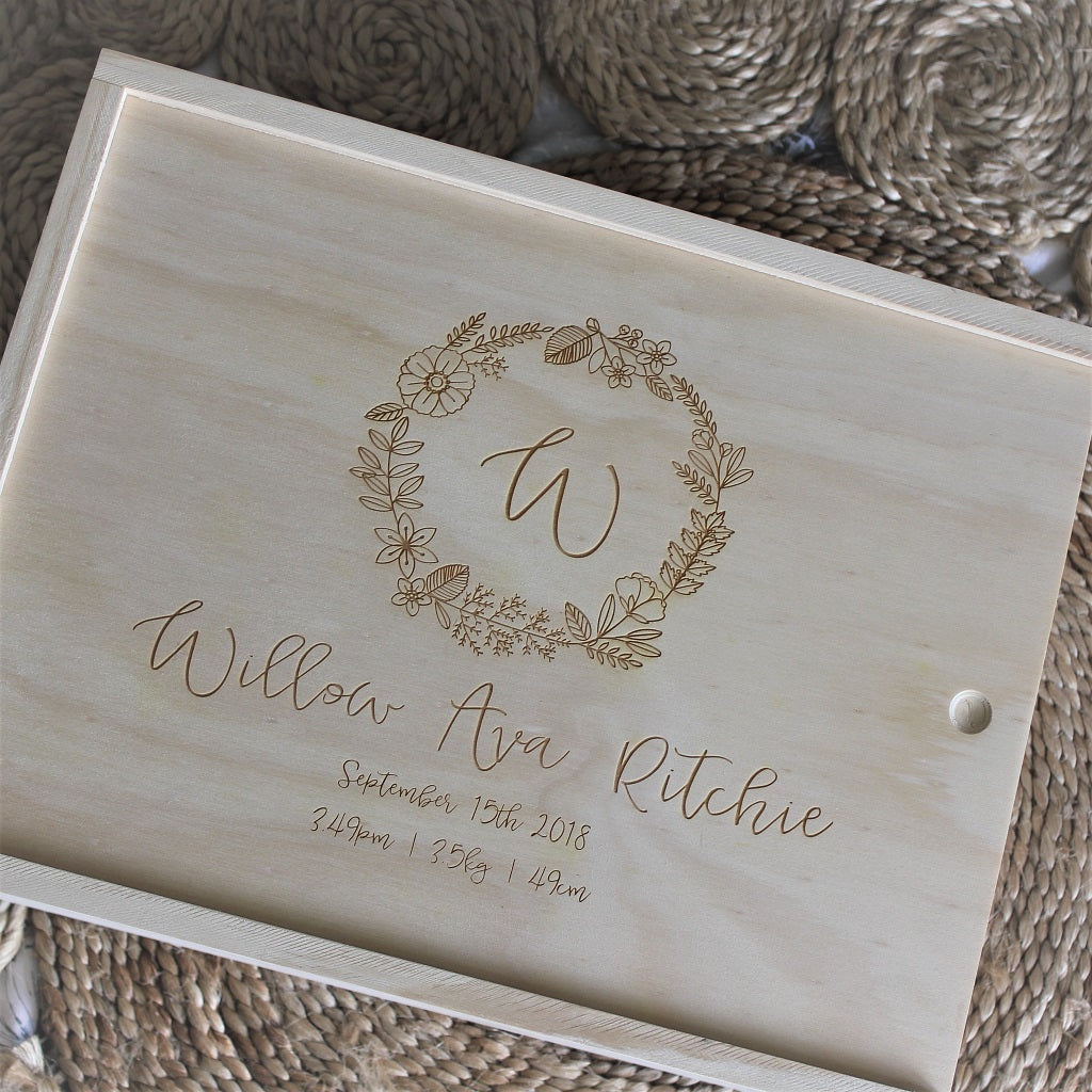 Wildflower Wreath Baby Keepsake Box