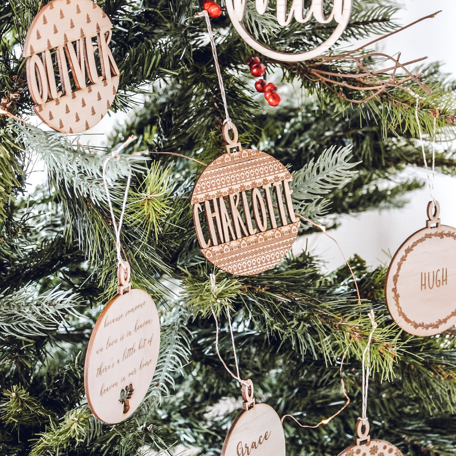 Wooden Christmas Baubles