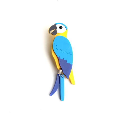 Blue Macaw Brooch