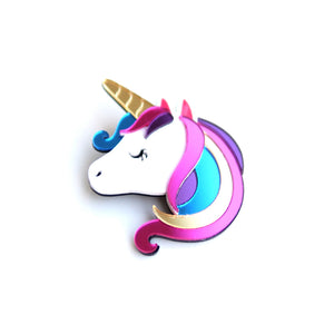 Unicorn Head Brooch