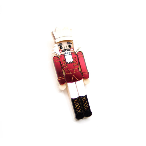 Nutcracker Brooch - Red