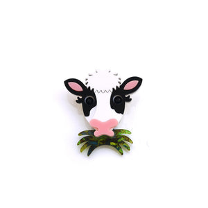 Grass Eating Cow Brooch (Playable)