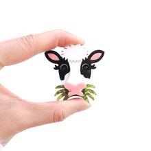 Load image into Gallery viewer, Grass Eating Cow Brooch (Playable)