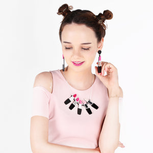 Lipstick Earrings - Pink