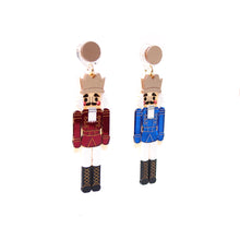 Load image into Gallery viewer, Nutcracker Earrings - Blue and Red