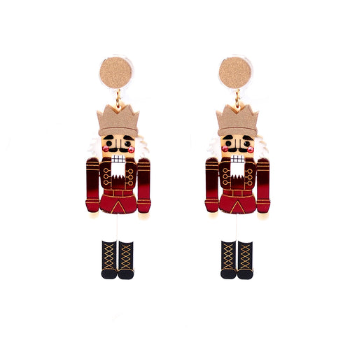 Nutcracker Earrings - Red and Red