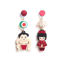 Load image into Gallery viewer, Geisha & Sumo Earrings