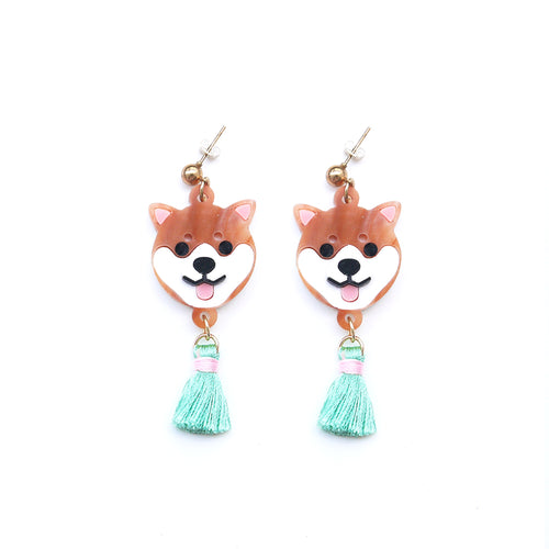 Shiba Inu Head Dangle Earrings