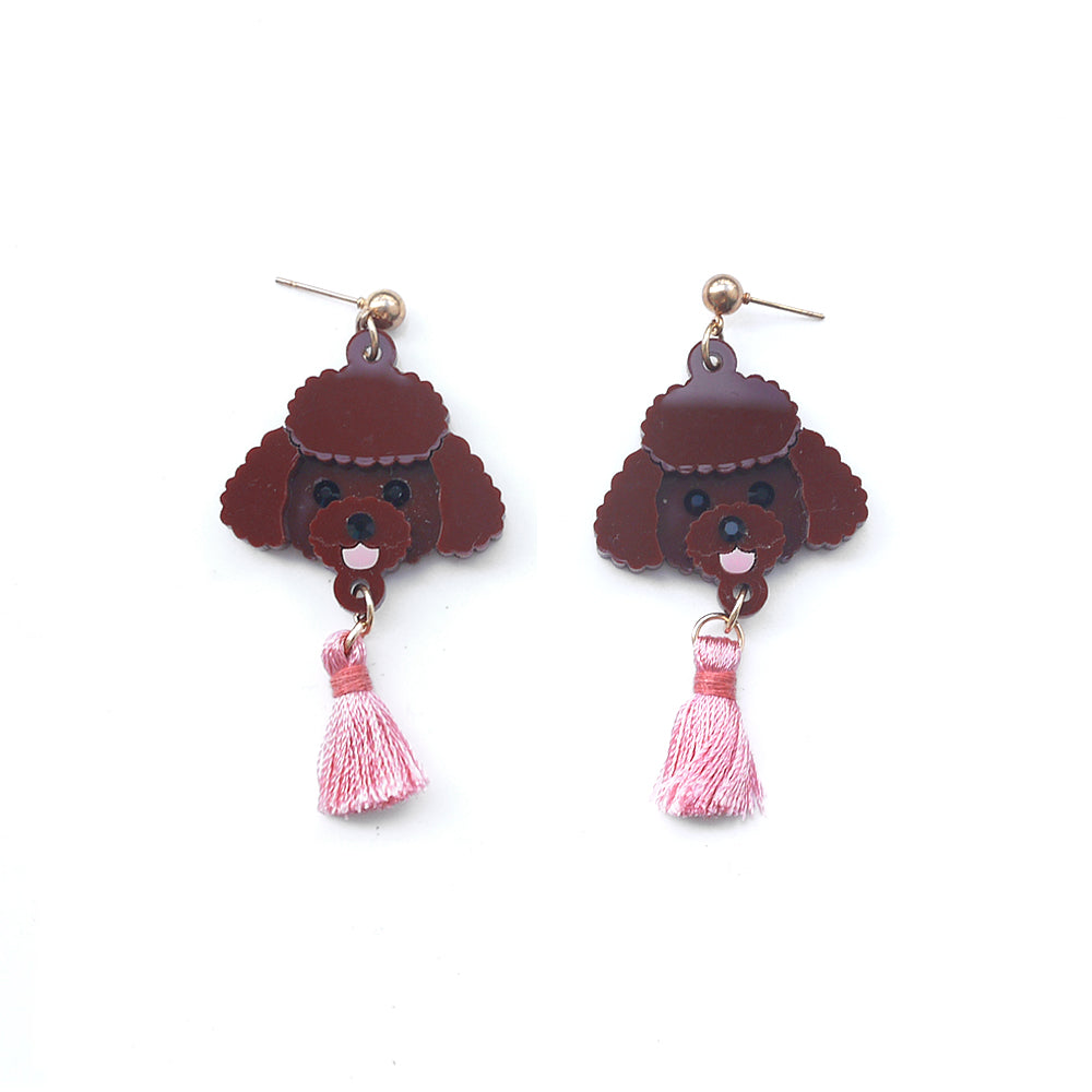 Poodle Head Dangle Earrings