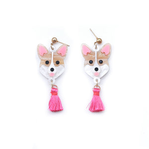 Corgi Head Dangle Earrings