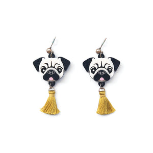 Pug Head Dangle Earrings