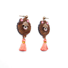 Load image into Gallery viewer, Pomeranian Head Dangle Earrings