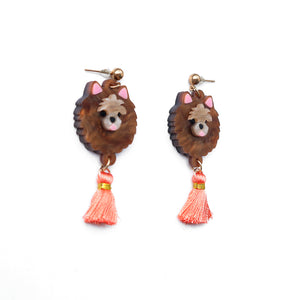 Pomeranian Head Dangle Earrings