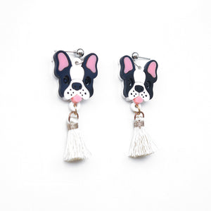 Frenchie Head Dangle Earrings