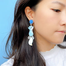 Load image into Gallery viewer, Arctic Fox Dangle Snowflake Earrings