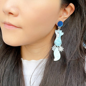 Arctic Fox Dangle Snowflake Earrings