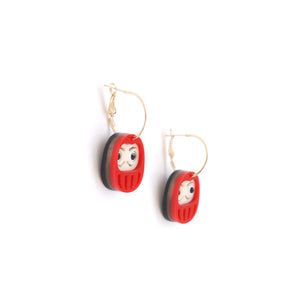 Daruma Hoop Earrings