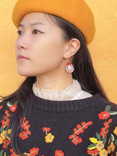 Load image into Gallery viewer, Daruma Hoop Earrings