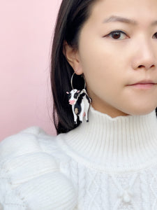 3D Cow Hoop Earrings (many ways)