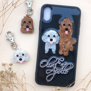 Custom Made 2 doggies Phone Case and Dog Tag