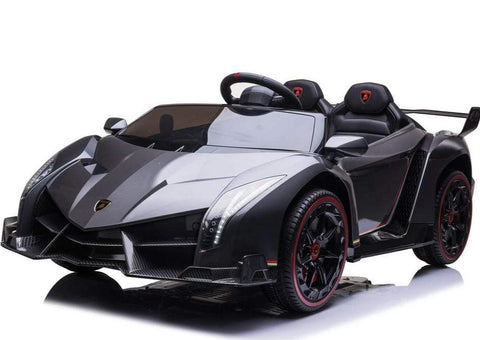 2021 Licensed Lamborghini Veneno Exotic Kids Car with Bluetooth | Charcoal with CF Accents - Elegant Electronix