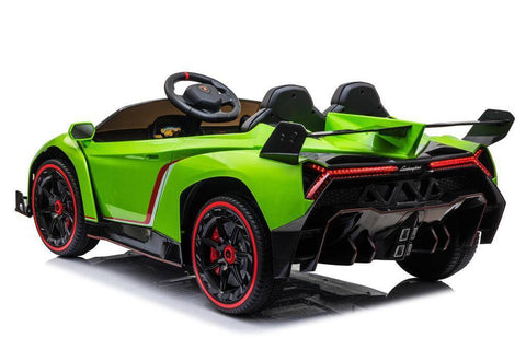 Image of 2021 Licensed Lamborghini Veneno Exotic Kids Car with Bluetooth | Lime Green - Elegant Electronix