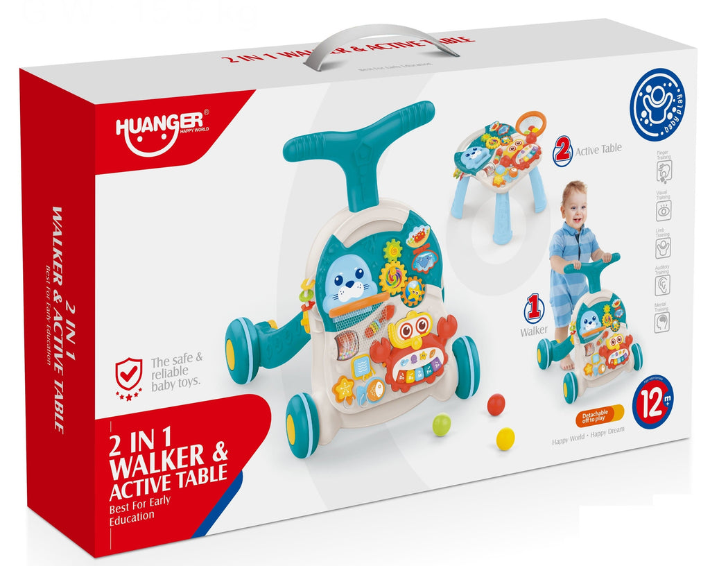 2 in 1 Unisex Baby Walker and Activity Table