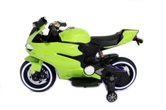 Ducati Style Kids Motorcycle with LED Wheels Electric Ride on Bike 12V | Lime Green