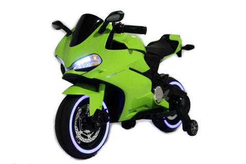 Ducati Style Kids Motorcycle with LED Wheels Electric Ride on Bike 12V | Lime Green - Elegant Electronix