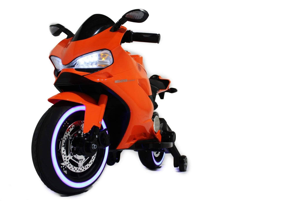 Ducati Style Kids Motorcycle with LED Wheels Electric Ride on Bike 12V | Orange - Elegant Electronix