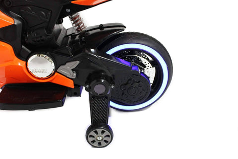 Image of Ducati Style Kids Motorcycle with LED Wheels Electric Ride on Bike 12V | Orange - Elegant Electronix