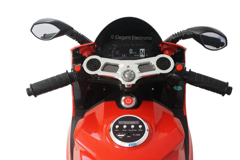 Image of Ducati Style Motorcycle with LED Wheels Electric Ride on Bike 12V | Red - Elegant Electronix